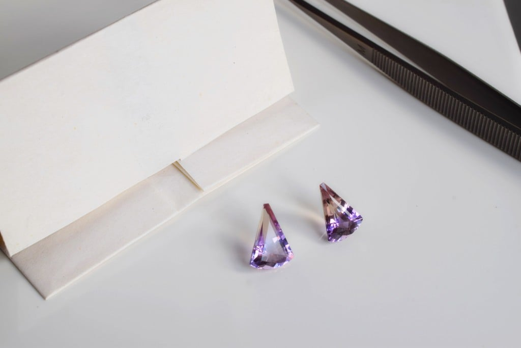 Pair of fancy cut Ametrines – so called because they are mixture of Amethyst and Citrine, both are varieties of Quartz